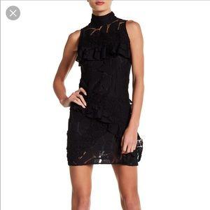 NEW • IRO • Mock Neck Lace Mini Dress Black 38